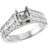 Fancy Scroll Solitaire Engagement Ring Base