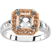Halo-Style Design-Engraved Engagement Ring