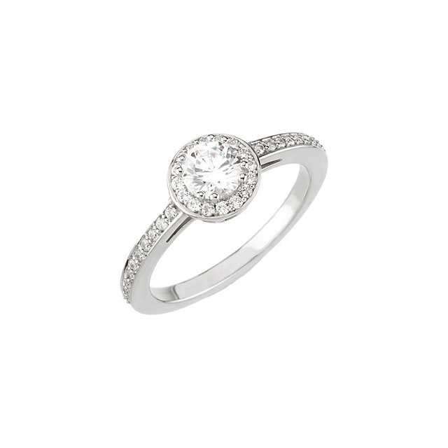 14K White 3/8 CTW Diamond Engagement Ring