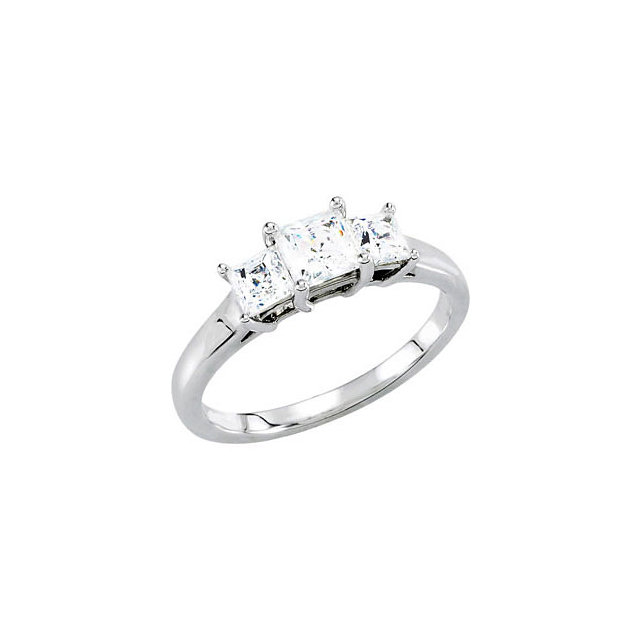 14K White 3.5x3.5mm Round 1/2 CTW Diamond 3-Stone Engagement Ring