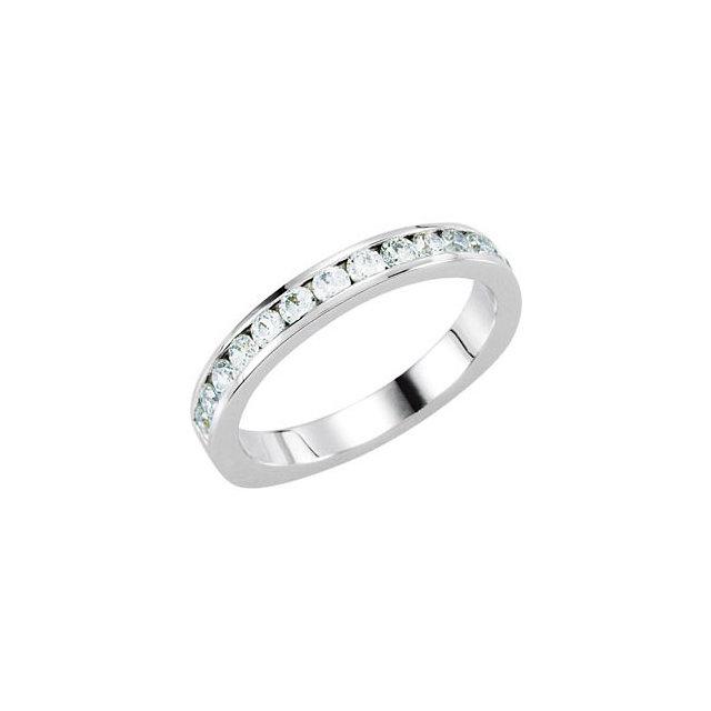 14K White 1/3 CTW Diamond Band for 6.5mm Round Ring