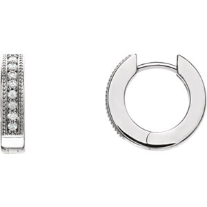 14K White 1/8 CTW Diamond Hoop Earrings with Milgrain