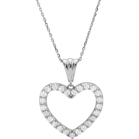14K White 1 CTW Diamond Heart 18