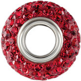 Kera® Roundel Bead with Pavé Red Crystals