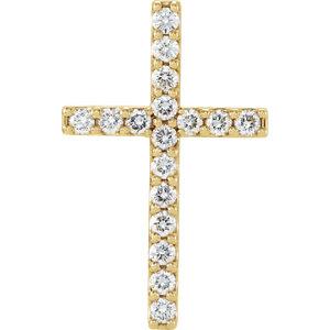 Pendant, 14K Yellow 1/2 CTW Petite Diamond Cross Pendant