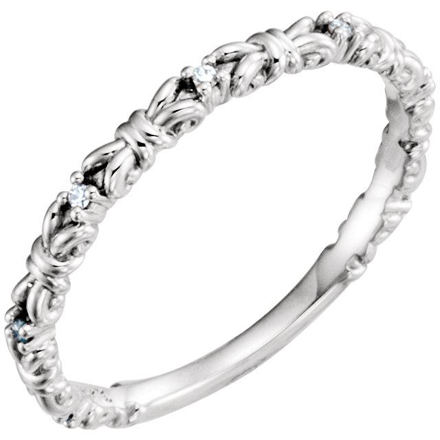 14K White .04 CTW Diamond Stackable Ring