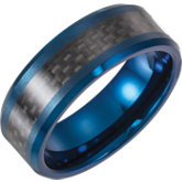 Tungsten Blue Enameled Band with Black Carbon Fiber Inlay