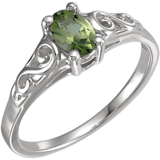 Sterling Silver August Imitation Birthstone Ring