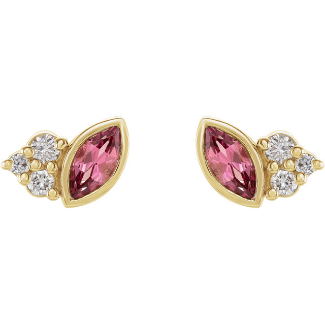 14K Yellow Pink Tourmaline &  .05 CTW Diamond Earrings