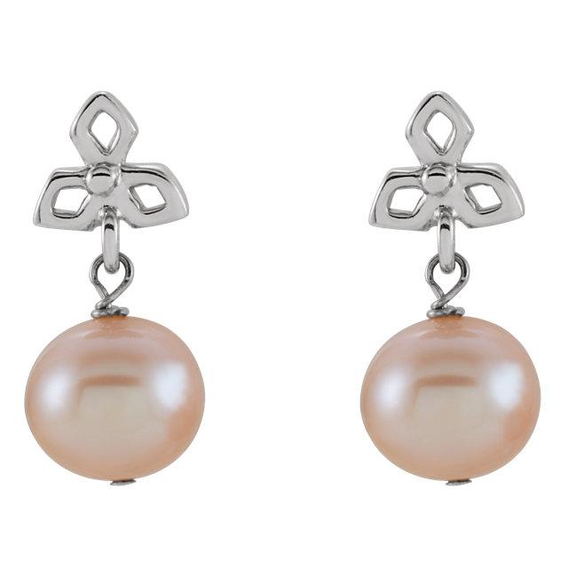 Sterling Silver Freshwater Cultured Pearl Dangle Earrings