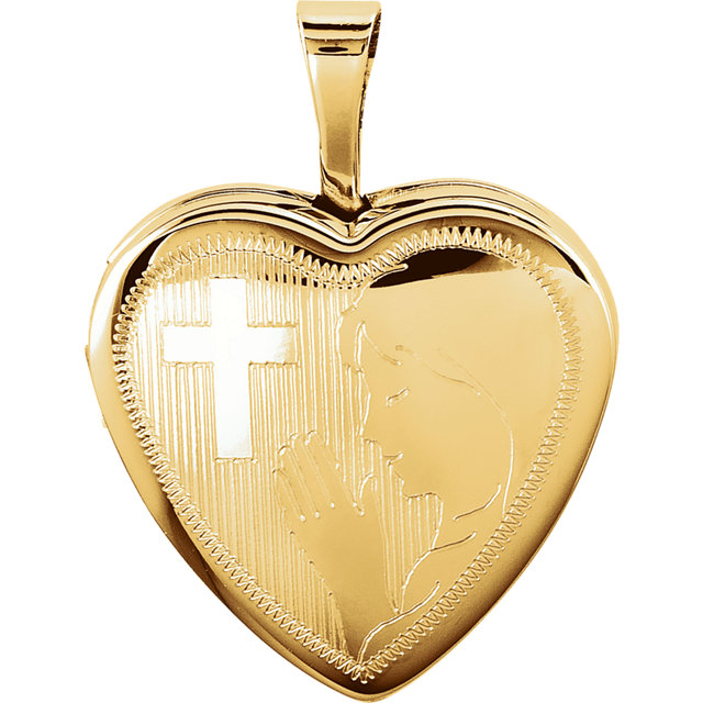 14K Yellow Gold-Plated Sterling Silver Prayer Heart Locket