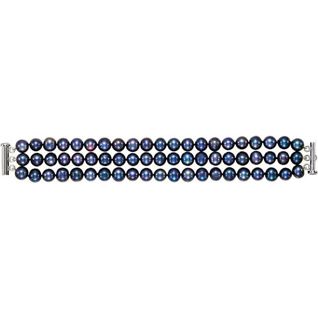 Sterling Silver Pearl 3-Strand Bracelet