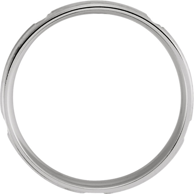10K White 5 mm Lightweight Patterned Band Size 10