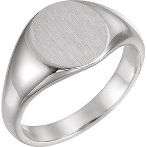 Fashion Rings , Palladium 12.5x10.5mm Men's Solid Signet Ring