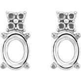 Oval 4-Prong Accented Earrings