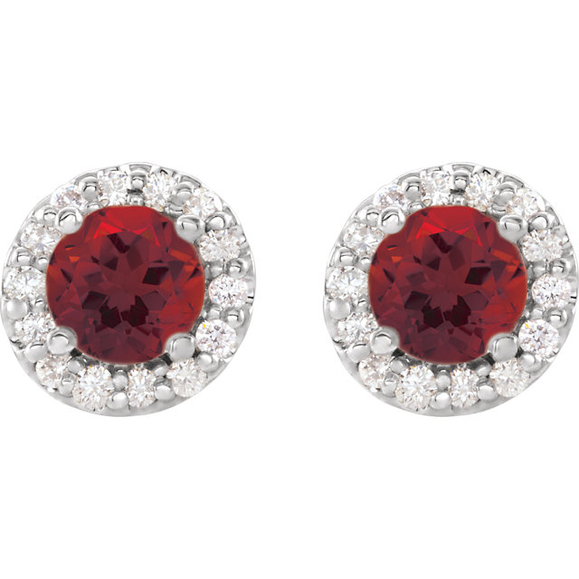 14K White Mozambique Garnet & 1/4 CTW Diamond Earrings