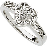 Diamond Heart Filigree Ring