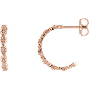 14K Rose .05 CTW Diamond Hoop Earrings