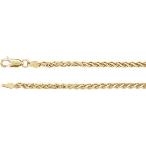 Bracelet, 14K Yellow 2.75mm Diamond Cut Wheat 7