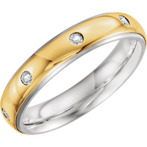 Sterling Silver & 10K Yellow 5mm .05 CTW Diamond Band Size 9