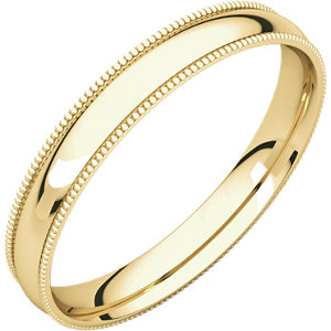 14K Yellow 3 mm Milgrain Lightweight Comfort-Fit Band