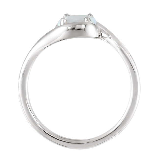 Sterling Silver Opal Bypass Ring