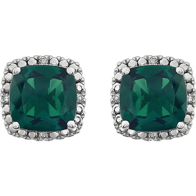 14K White Created Emerald & .06 CTW Diamond Earrings