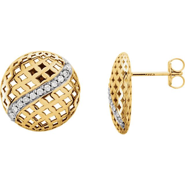 14K Yellow 1/5 CTW Diamond Pierced Style Earrings
