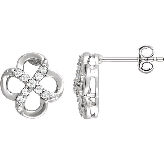 Sterling Silver 1/6 CTW Diamond Earrings