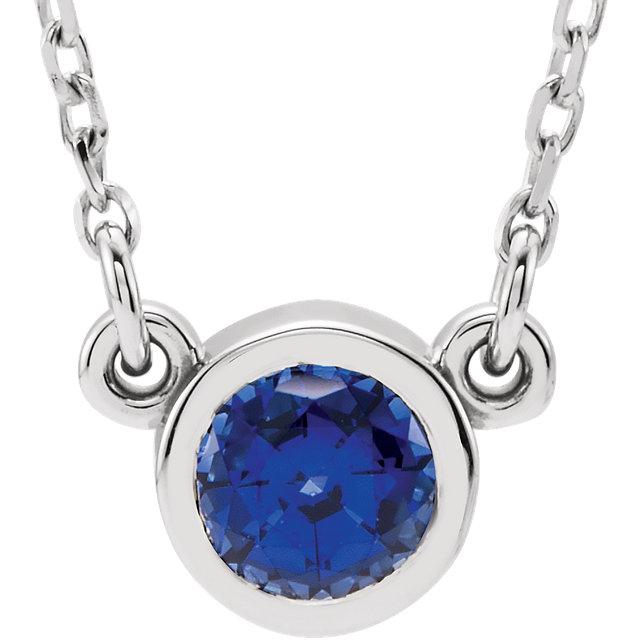 14K White Chatham® Created Blue Sapphire 16