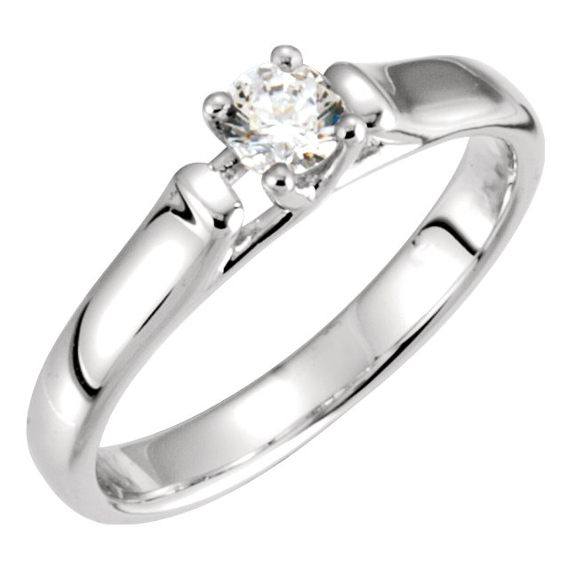 14K White 1/2 CTW Diamond Solitaire Engagement Ring