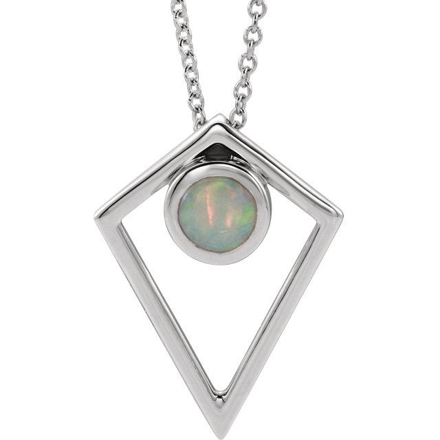 14K White Opal Cabochon Pyramid 24