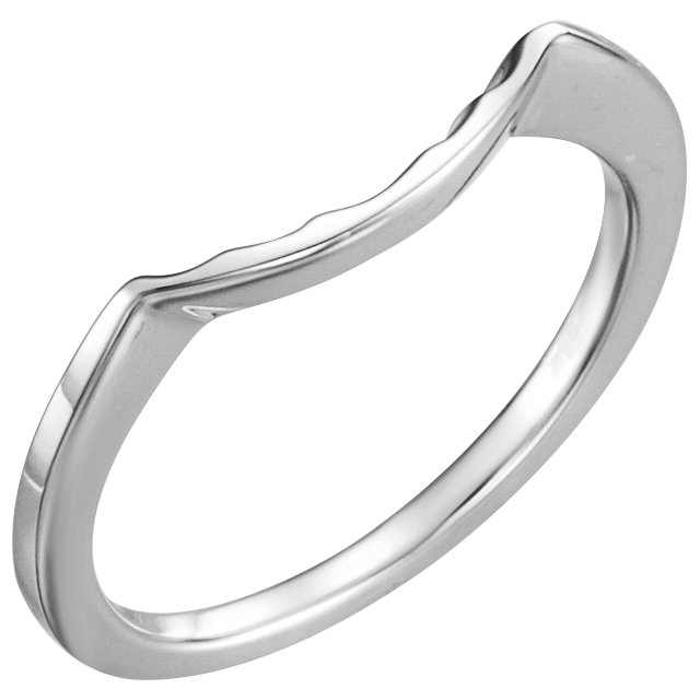 14K White Matching Band for 6.5mm Round Ring