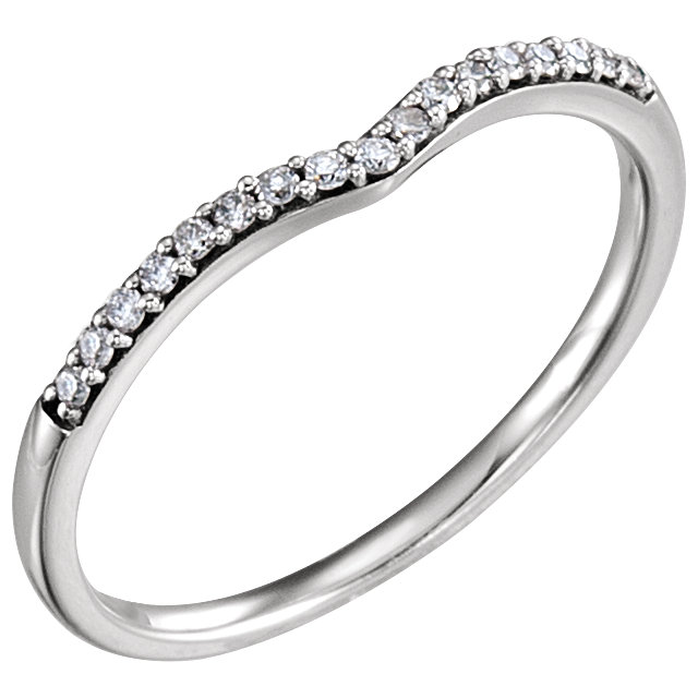14K White 1/8 CTW Diamond Band