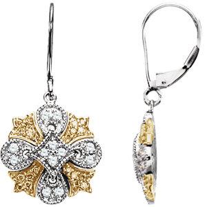 Earrings , Natural Yellow & White Diamonds Lever Back Earrings