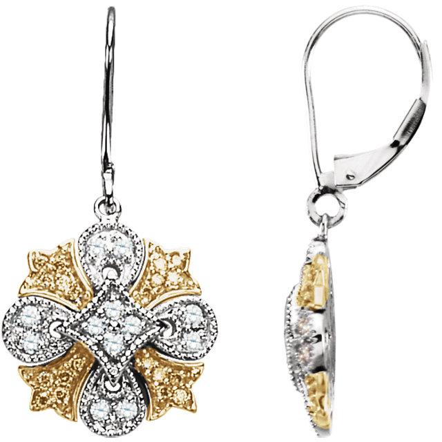 Natural Yellow & White Diamonds Lever Back Earrings