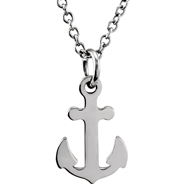 14K White Tiny Posh® Petite Anchor 16-18