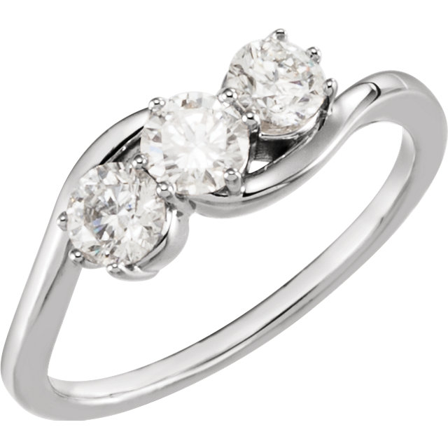 14K White 3/4 CTW Diamond Three-Stone Ring
