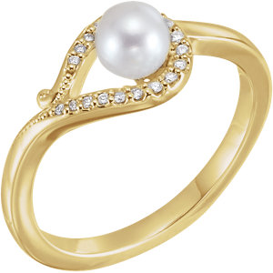 14K Yellow Freshwater Cultured Pearl & .07 CTW Diamond Bypass Ring