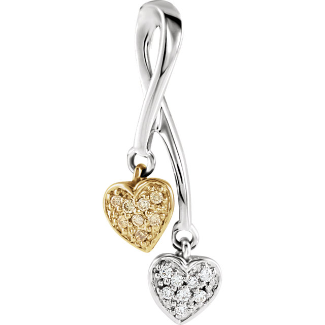 14K White & Yellow .08 CTW Diamond Double Heart Pendant