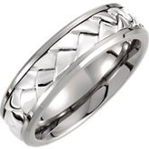 Titanium & Sterling Silver Inlay Band