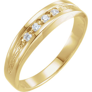 14K Yellow 1/8 CTW Diamond Band