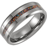 Beveled Edge Band with Carbon Fiber & Multi-Color Sparkle Inlay