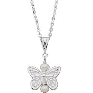 Youth Butterfly & Pearl Necklace