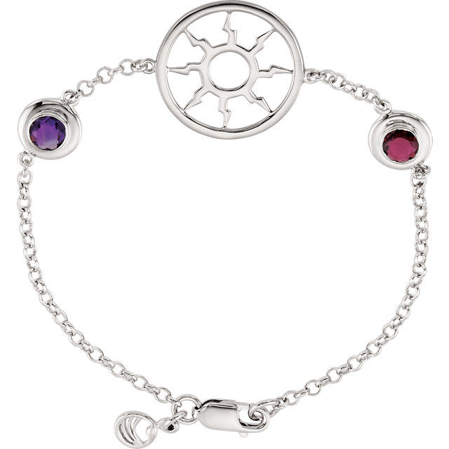 Sterling Silver Amethyst & Pink Tourmaline 7.25