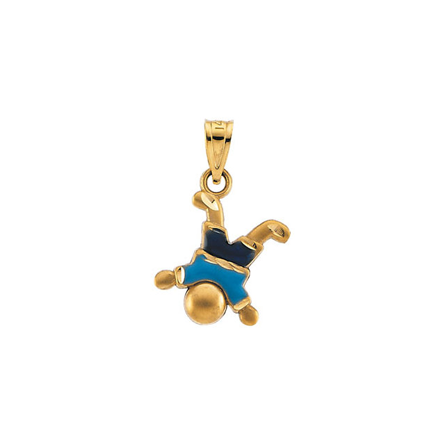 14K Yellow Enameled Little Boy Pendant