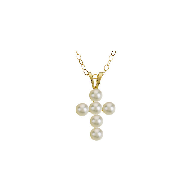14K Yellow Freshwater Cultured Pearl Cross 15