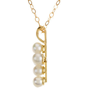 14K Yellow Youth Pearl Cross 15