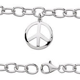 Youth Oval Link Bracelet with Peace Sign Charm