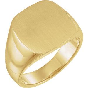Fashion Rings , 14K Yellow 16mm Men's Solid Signet Ring